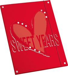 Picture of SWEET YEARS HEARTS folder A4 with rubber
