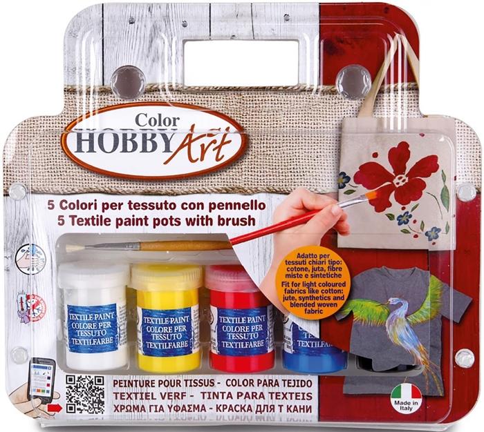 Slika od TOY COLOR komplet boja za tekstil - 6 bočica od 22 ml