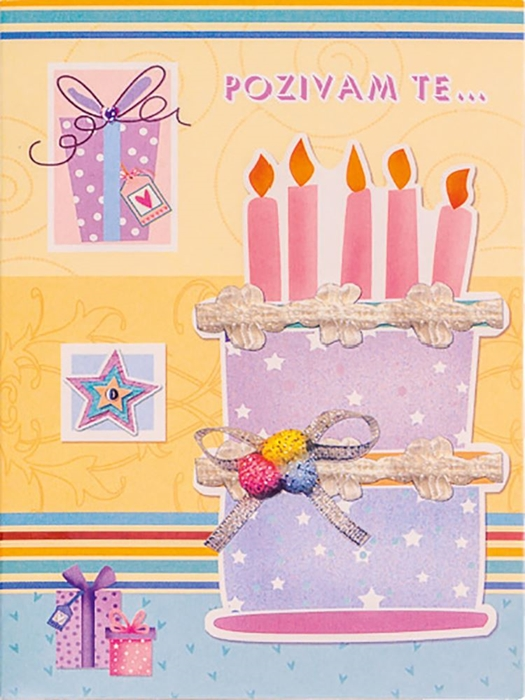 Picture of INVITATION with envelope glitter - 6 pieces in blister
