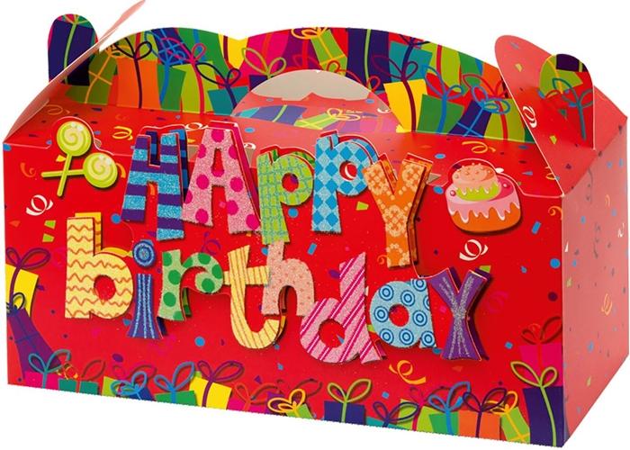 Slika od POKLON KUTIJA sklopiva Happy birthday glitter 3D 31,2x12x13,8 cm